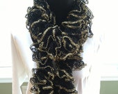 Hand knit sparkle ruffle scarf