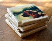 CUSTOM Pet Photo Coaster on travertine tile with resin gloss finish (set of 4)