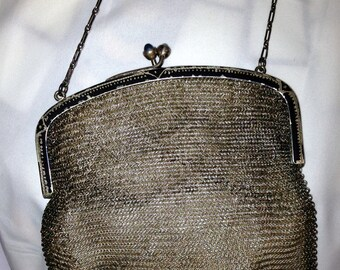 Early 1900's Sterling Silver Mesh Purse - Antique