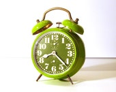 Amazing vintage green apple bell alarm clock - Peter - St. Patrick's Day