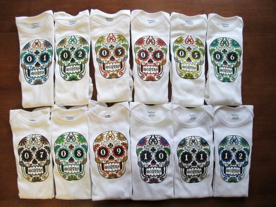 Monthly Sugar Skull Bodysuits Individual Months (months 1 thru 12) - One Piece Body Suits