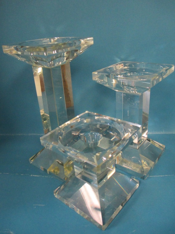 Vintage Art set of 3 solid clear glass art glass candle holders
