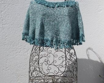 crochetted cotton blue green mini poncho