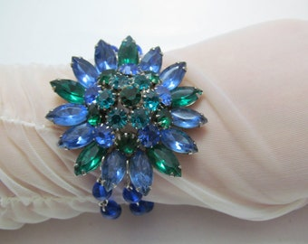Striking Vintage Blue & Green Floral Bracelet
