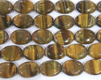 10x14mm Oval Tiger Eye Beads Genuine Natural Genuine - 5631 15''L Semiprecious Gemstone Bead Wholesale Beads Supply