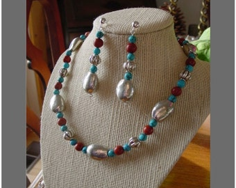 Turquoise, Red Jasper and Silver Necklace and Earring Set: A Touch of Southwest