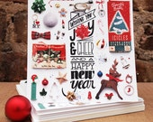 Holiday Cards Set of 6  - Holidays Organized Neatly, Hand Illustrated Typography, Square - Wishing You Joy and Cheer and a Happy New Year