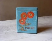 Lovely French Vintage  turquoise Retro  PASTA Box,Tin,VICHY PRUNELLE.