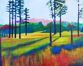 """Colorful Abstract Landscape Print with Matte """"By the Road"""" 20"""" x 16"""""""