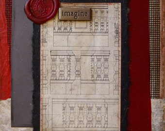Imagine-Original Art Card Mixed Media art collage on paper