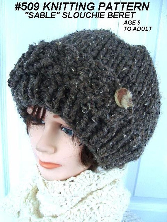 Knitting Pattern For Age : KNITTING PATTERN Hat slouchie hat women teens girls age