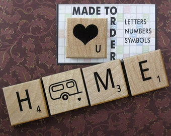 4 Unique Personalized Scrabble Magnets - Large 2x2 Inch Scrabble Tile Refrigerator Magnets - Custom, made to order. OOAK