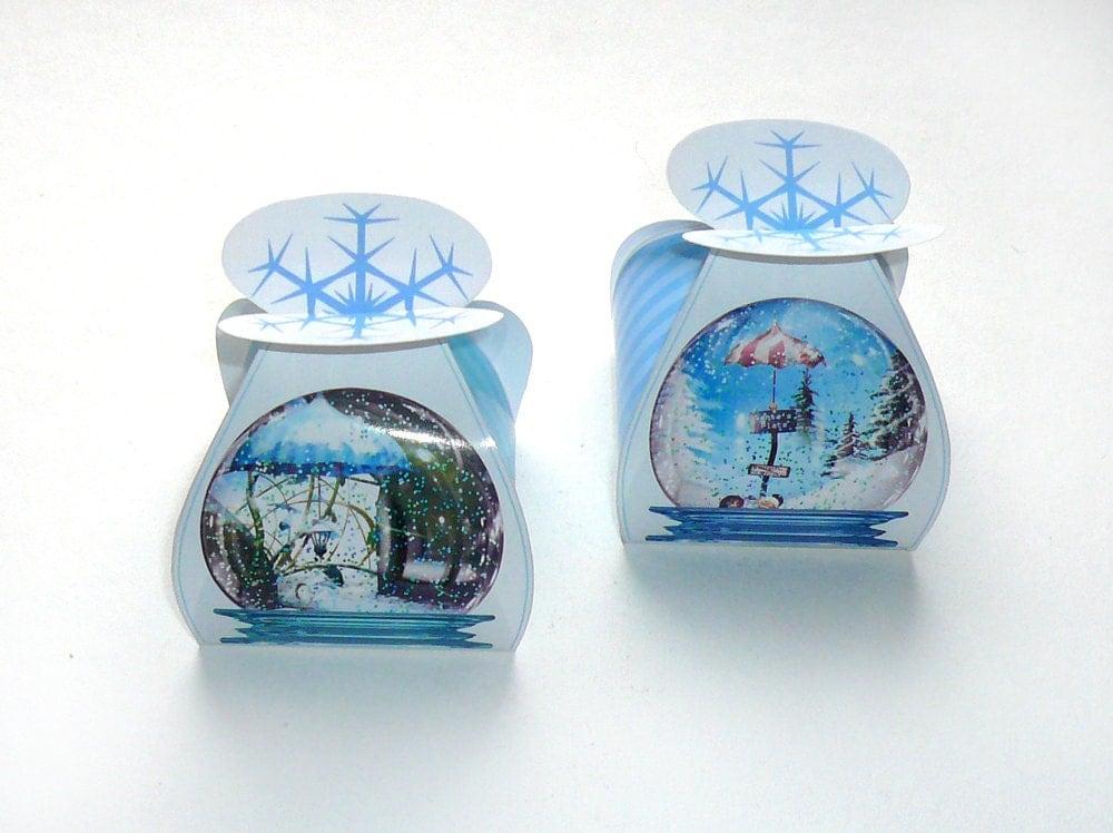 Diy Christmas Favor Boxes : Snow globe favor box diy printable christmas holiday candy