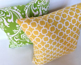 """SET yellow lattice and green damask accent pillow covers with zippers, 18 X 18"""""""