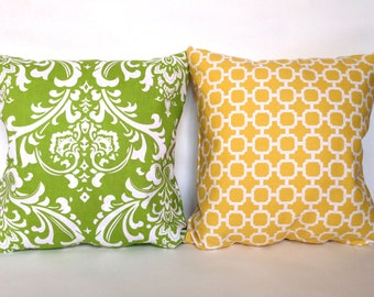 """SET, yellow lattice and green damask accent throw pillow with zippers, 16 X 16"""""""