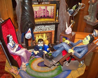 The Munsters, monster model, aurora model, scale model by Polar Lights of the Munsters Living Room