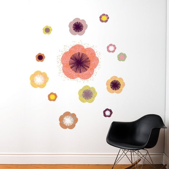 Solstice Flowers Salmon Wall Decal Color Print