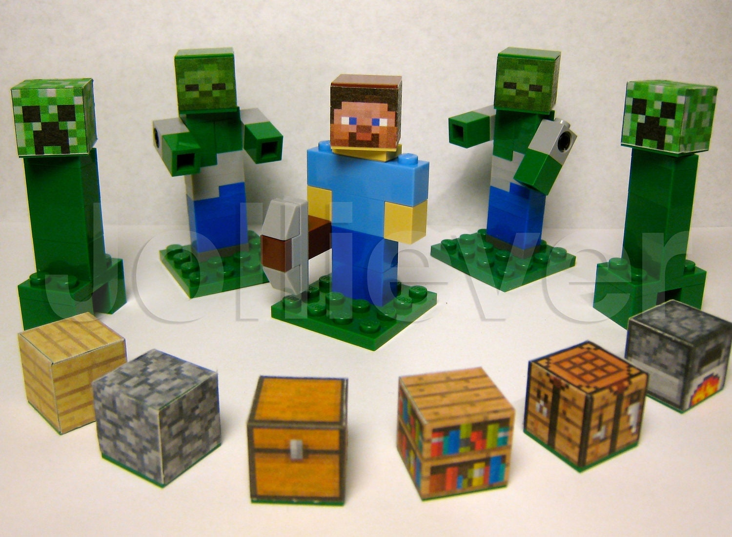 Lego minecraft custom steve character with pickaxe 2 zombies for Zombie build