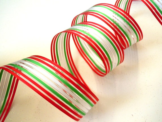 wired Christmas ribbon decorations white red green stripes ...