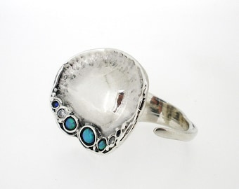 Handcrafted 925 Sterling Silver Two Finger Ring With CZ and  3 Semi Precious Stone Inlaid, Unique by PORAN, Made in Israel, Artistic jewelry