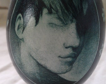 Lonely Boy & Rose - Etched Goose Egg w/ a boy in profile and a rose