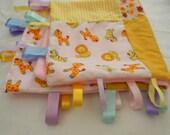 Medium Handmade Baby Girls Taggy Blanket with soft fleece custom made