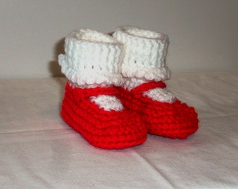 Crocheted baby booties - mary janes