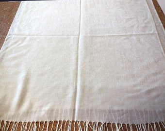 Vintage Shawl White Long Scarf Wrap Fringe Scarf Shoulder Wrap Cover Up Fashion Accessories Woman's Clothing