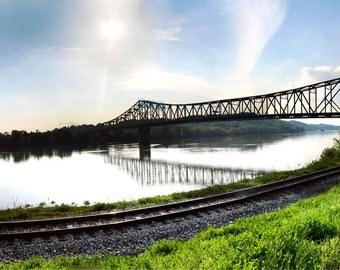 River Bridge Panorama-- Peaceful Photograph of bridge crossing a river 10x20