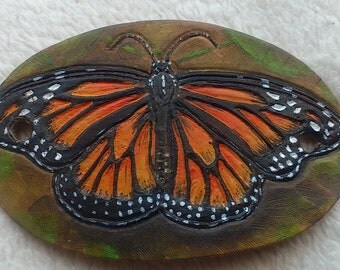 Monarch Butterfly leather hair barrette