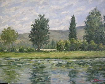 Original painting, Italy, Tuscany, impressionist, river, water, reflection, trees, hills, clouds, green, Sessa
