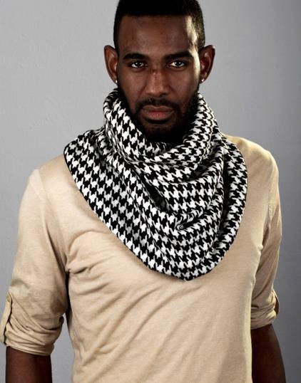 Mens Cowl Neck Scarf Houdstooth and Faux Suede by LePoshNoir Cowl Neck  Neck Scarves Men