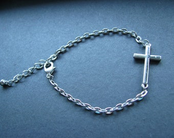 "Silver Sideways Horizontal Cross bracelet 6.5"" with 1.5"" extension"