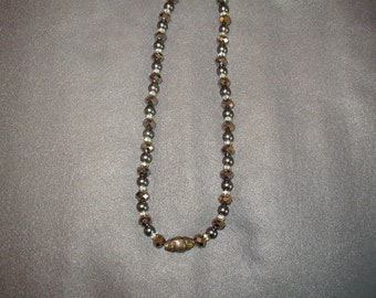 Silver and gray beaded necklace