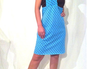 Blue and Brown Polka Dot Dress - Sz Sm  B0004