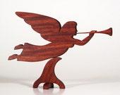 Herald Angel (Santos Mahogany) Wood Angel, Christmas Angel, Angel Weathervane