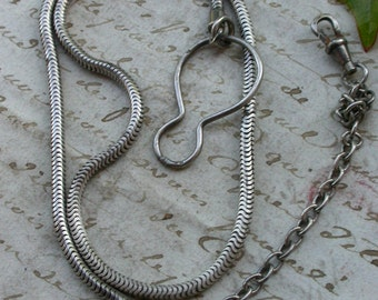 French antique   pocket watch chain sterling silver chain large snake silver snake chain large watch chain necklace
