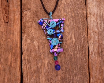 One of a kind Dichroic Fused Glass Necklace