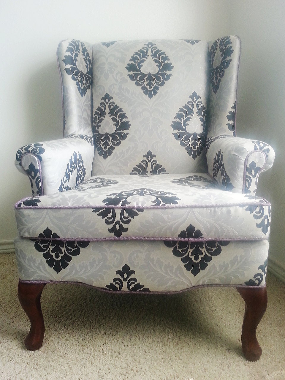 Wing Back Chair Accent Chair Damask Vintage Chair Lounge