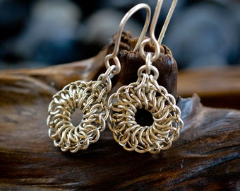 Sterling Silver Floral Chainmaille Dangle Earrings