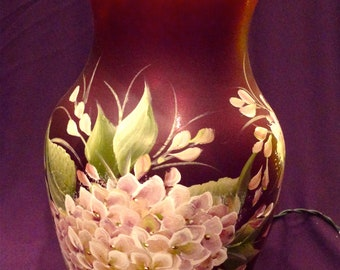 Lighted Red Vase - Hydrangea Lamp