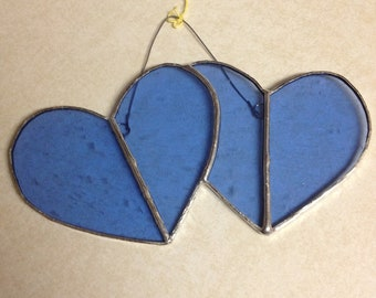 Double Heart Stained Glass Suncatcher
