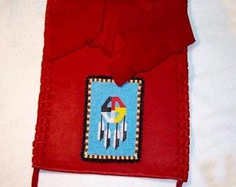 PURSE Red Leather Powwow Regalia - Western Handbag - MEDICINE WHEEL with Eagle Feathers Beadwork Bag 3 by Southwest Dreaming