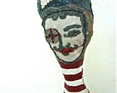 Whimsical Figurative Art Sculpture Mixed Media Fabric Paper Maché Albert Einstein Quote Abstract Art Doll Red White Stripes Collectible OOAK