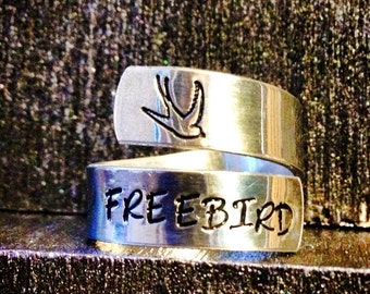 Personalized Ring, Engraved Ring, Bird, Adjustable, Nautical, Dragonfly ring, sun & moon, peace ring, yin yang SPRALS01