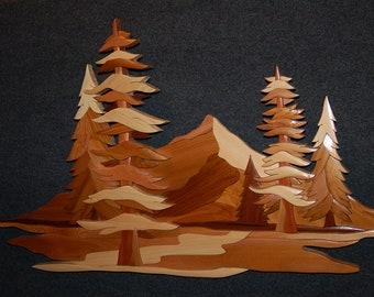 Intarsia  FIVE TREE SCENE art carving