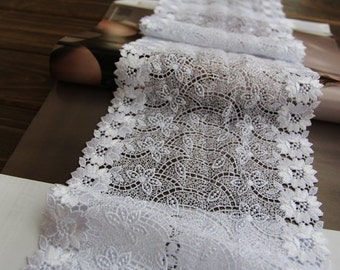 White Venice Lace Trim Floral Hollowed Out Lace Crochet Lace Trim 6.69 Inches Wide 1 Yard Costume Headware Supplies