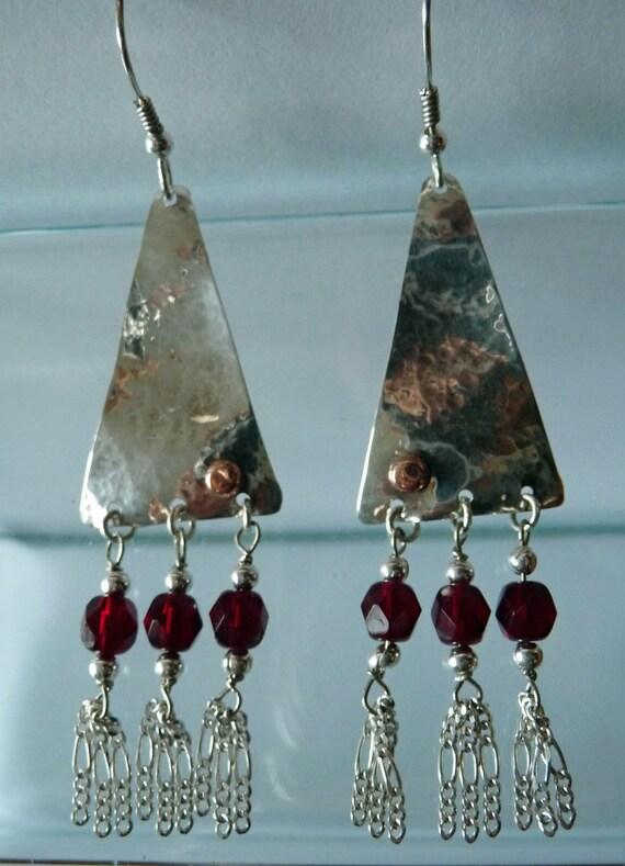triangle dangle chandelier earring handcrafted hammered. Black Bedroom Furniture Sets. Home Design Ideas
