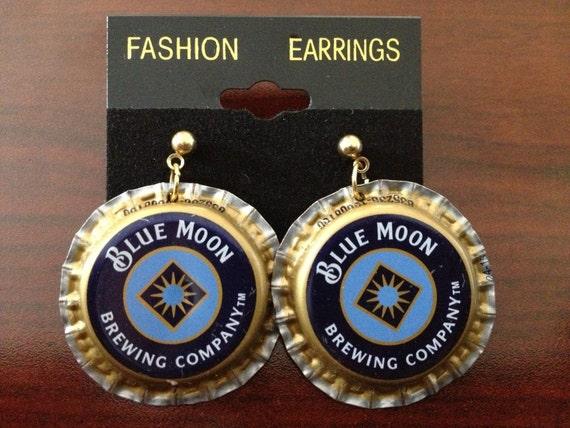 Blue moon beer cap bottle cap earring jewelry earing by for Beer cap jewelry