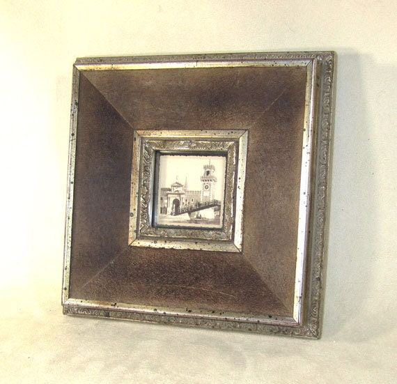 Frame  Antique Wood and Leather Art Frame